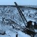 Gőzdaru sínfektetés közben Uruguay